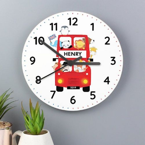 London Animal Bus Wooden Clock